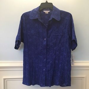 NWT Bright blue burnout button-down blouse
